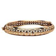 14k Basket Weave Hinged Bangle Bracelet