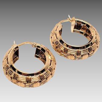 Basket Weave Gold Hoop Earrings 14K Yellow Vintage  Hinged Latch Back Round