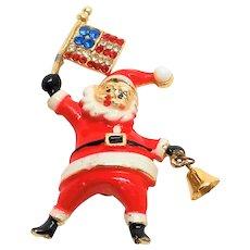Vintage BEATRIX Patriotic Santa Claus with bell Pin