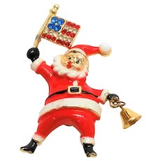 Vintage BEATRIX Patriotic Santa Claus with bell Pin