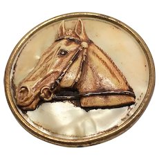40s Brass and Celluloid Horse pin brooch