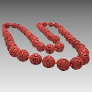Vintage Chinese Export 1960's Genuine Hand Carved Red Cinnabar Necklace 36 inch