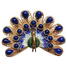 Breathtaking Sterling  and Lapis Enamel Peacock Pin Brooch