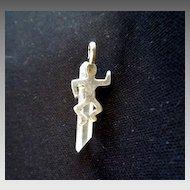 925 Silver Quartz Crystal pendant signed RRAZ