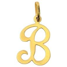 Vintage 14K Gold Pendant Charm Letter ~ B ~