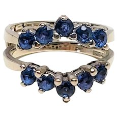 Fabulous 14K White Gold Natural Sapphire full 2 sided Ring Guard