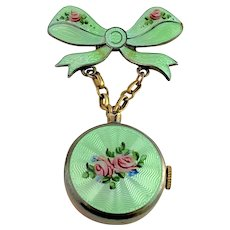 Vintage Guilloche Sterling and Enamel Bow Lapel Watch Brooch Pin signed CHASE