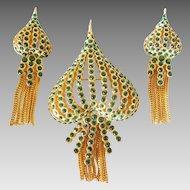 Persian influence Romantic Emerald Green Rhinestone  Brooch and Earrings