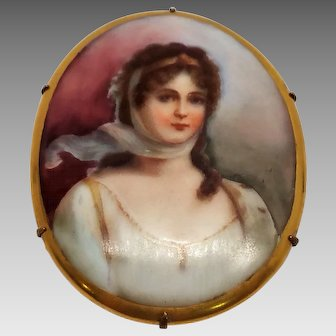 Antique Victorian Hand Painted Oval Porcelain Portrait Brooch 10K Gold  C Clasp