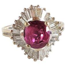 VIVID RUBY Diamond Ring Natural Ruby Ring Ruby Ballerina Ring Ruby Diamond Ring 14K Ruby Statement Ring  Anniversary Rings