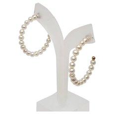 Cultured Pearl 3 Quarter-Hoop Earrings - 14k Yellow Gold Pierced
