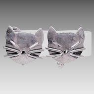 Beau Sterling Silver Kitty Cat  Screwback Earrings