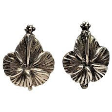 Sterling Floral Flower Screw Back Earrings