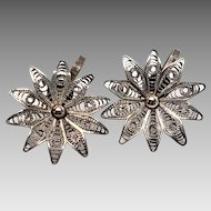Lovely Screwback Sterling Mexico Daisy Filigree Earrings