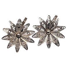 Lovely Screwback Sterling Mexico Daisy Filigree Earrings