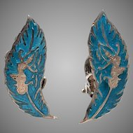 Blue SIAM STERLING Enamel Vintage Earrings