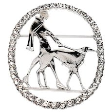 Large Rhinestone Woman Walking Dog pin Brooch