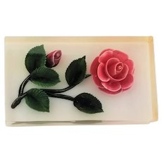 Vintage Embedded Pink Roses In Lucite Pin Brooch