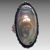Stunning Antique Sterling Abalone Ring 3.5