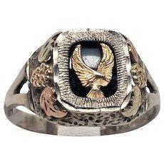 Gold Eagle Sterling Black Hills Gold 10K 12K ring size 11.5