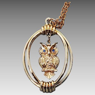 Owl in a Cage Pendant with Blue Rhinestone eyes