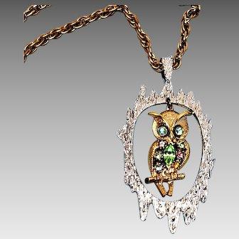Mixed Rhinestone Owl Pendant Necklace signed HMS Madeira Creations