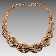 Large 1980s Gold Tone Twist Necklace