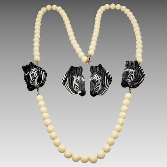 1980s Zebra Necklace and Earrings