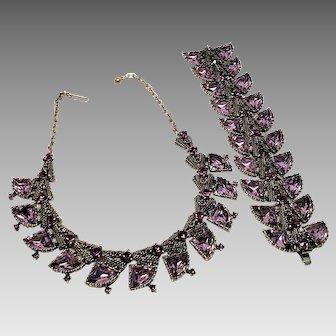 Large Breathtaking Amethyst Rhinestone Necklace and Bracelet