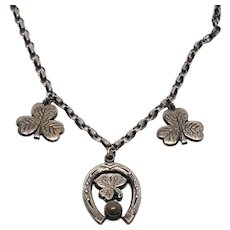 Shamrock Three Leaf Clover and luck Horse shoe necklace