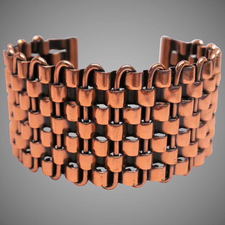 700be403a5c Renoir copper basketweave cuff bracelet : Vintage Glitz and ...
