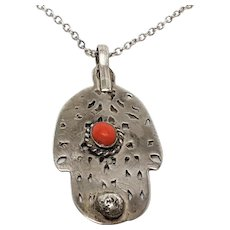 Lovely Sterling and Coral Pendant necklace