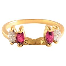 Ruby & Diamond Enhancer Wedding Band - 14k Gold Guard Ring Marquise