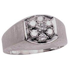 1960's Vintage Men's / Unisex 14K White  Gold .75 Carat Diamond Cluster Ring size 10