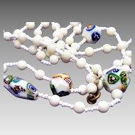 Vintage Milk Glass and Millefiori Murano Venetian  Bead Necklace