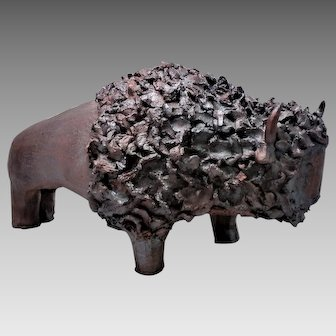 Modernist  Hand Wrought Iron Sculpture Western Plains Buffalo