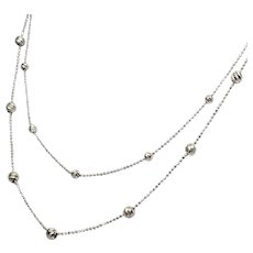 14K White Gold 2 Strand Diamond Cut Station Necklace - Red Tag Sale Item
