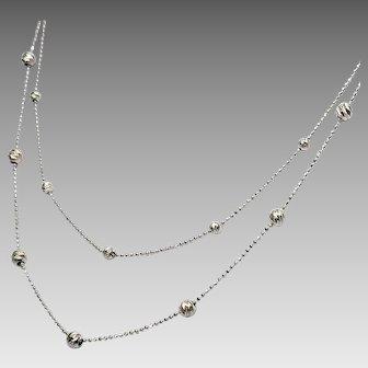 14K White Gold 2 Strand Diamond Cut Station Necklace