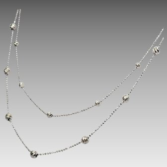 14K White Gold 2 Strand Diamond Cut Station Necklace