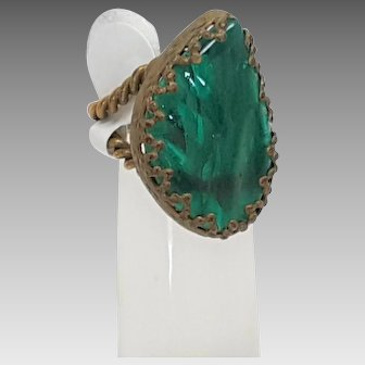 Made in Czechoslovakia Green Glass Ring
