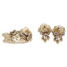Beautiful Faux Pearl Wrap Bracelet and Earrings Set