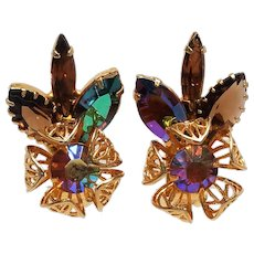 Amber Topaz Vintage Juliana D&E Earrings Metal work Flower Rhinestones