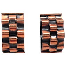 RENOIR Signed Modernist Basketweave Vintage Clip Earrings