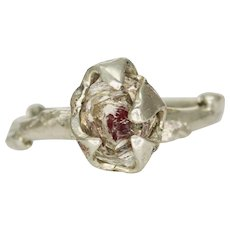 A Herkimer Tourmaline Silver Twig Ring