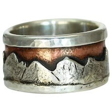 Mans Organic Silver Copper Mountain Ring