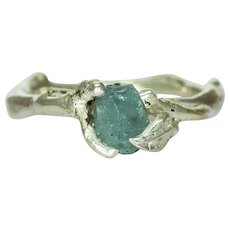 An Aquamarine Silver Artisian Ring