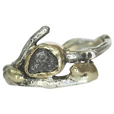 An Uncut Diamond Gold Silver Leaf Band Woman's Ring