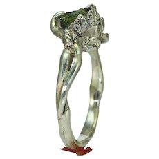 A Woman's Herkimer Diamond Silver Twig Leaf Ring