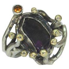 A Gold Silver Amethyst Citrine Mans Womans Twig Ring