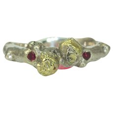 A Gold Silver Ruby Ring